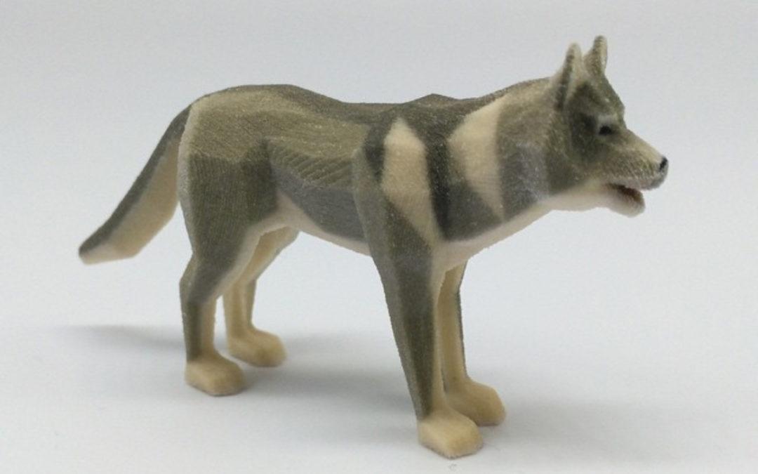 Low poly grey wolf